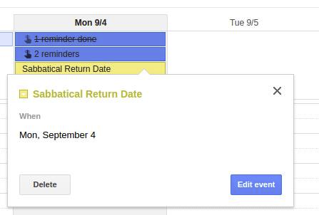 Sabbatical Return Reminder